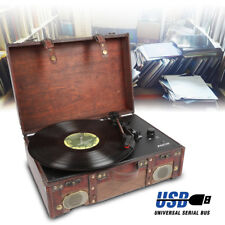 Vintage Vinyl LP Record Player Turntable USB Built-In Speakers *Free PC Software