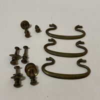 Antique Set of 3 Brass Drawer Pulls with Hardware