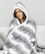 Árdor Faux Fur Snuggle Super Soft Hooded Blanket- Striped Silver