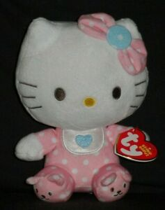 TY HELLO KITTY PINK BABY with RATTLE BEANIE BABY - MINT TAG EUC