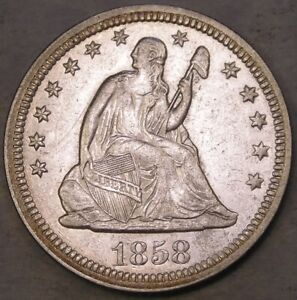 1858 LIBERTY SEATED SILVER QUARTER APPEALN BEAUTIFUL SHARP DRAPERY HAIR FEATHERS