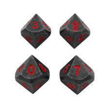 SkullSplitter Dice - 4 Pack of D10 - Butcher's Bill Metal Dice with Red Numbers