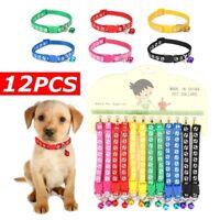 US 12PCS/Lot Dog Collars Pet Cat Puppy Buckle Belt Strap Nylon Collar + Bell !
