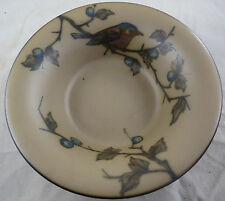 "L Hjorth Pottery 5.5"" Diameter Bowl Bird Design (gothic stamp stag mark, 1930s?)"