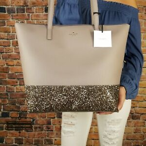 KATE SPADE Greta Court Penny Large Tote Bag Glitter Purse Handbag Cityscape Gray
