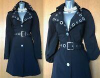 Karen Millen UK 10 Black Collared Long Blazer Jacket Mac Trench Raincoat EU 38