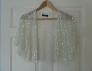 DEBUT CREAM SHRUG - ONE SIZE - SHEER MATERIAL WITH SEQUINS