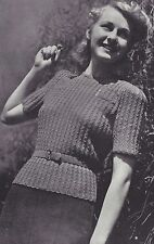 Vintage Knitting PATTERN to make 40s Cable Pullover Sweater Top Short Sleeves