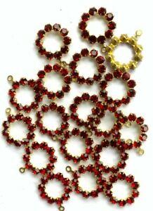 T011 - 50 Set w/Swarovski Rhinestones Ruby Rings - Pendants  w/ 1-Eye - 11mm