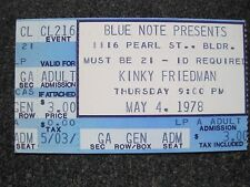 KINKY FRIEDMAN Concert Ticket Stub  May 4, 1978 Boulder Colorado