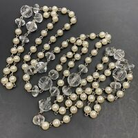 Long Faux Pearl Clear Plastic Beaded Necklace Flapper Length Endless
