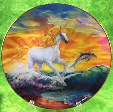 Fantasyland Unicorn Danbury Mint Plate Magical Moment 1993 Horse Dolphin Ocean