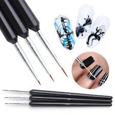 Nail Art Dotting Painting Drawing Pen UV Gel Liner Polish Brush Accessories 3X