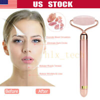 Electric Rose Quartz Jade Roller Facial Eyes Vibration Massager Skin Anti-Aging