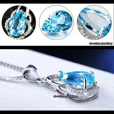 GIFT FOR HER Blue Topaz Necklace Sapphire Crystal Diamond Silver Xmas Wife Women