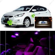 For Hyundai Accent 2012-16 Pink LED Interior Kit + Xenon White License Light LED