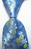 New Classic Floral Light Blue Yellow JACQUARD WOVEN 100% Silk Men's Tie Necktie