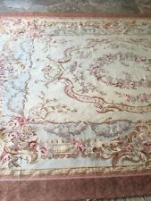 Handmade Vintage French Aubusson rug Made of Wool 8.5x12