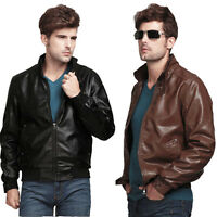 New Men's Stylish Slim Fit Coat Standing Collar PU Leather Jacket Outwear Tops