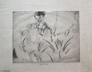 John Copley signed etching Lamplight