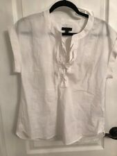 J. Crew Lace up Popover Top White Size 6 New