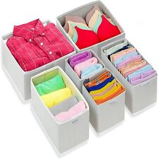 Foldable Cloth Dresser Drawer Organizer Drawer Divider Storage Box - Pack of 6