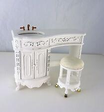 Dollhouse Miniature Fancy Avalon Vanity Sink & Stool, P5231