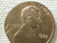 1987  lincoln Cent Memorial  (Error Struck over obv.) Extra Fine