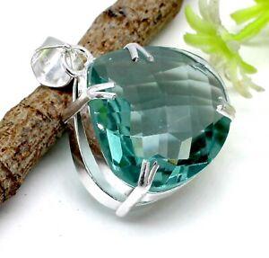 "925 Sterling Silver Green Amethyst Gemstone Handmade Jewelry Pendant Size-1.50"""