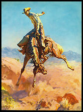 "VINTAGE 1954 ""BRONCO BUSTER"" LITHOGRAPH ART PRINT BY ADAM STYKA"