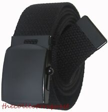 "NEW 1.5"" inch WIDE ADJUSTABLE CANVAS MILITARY WEB GOLF BLACK BELT BUCKLE"