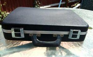 Hard Shell Briefcase with Key Black VGC  Vintage Retro Case Bag Mini Suitcase