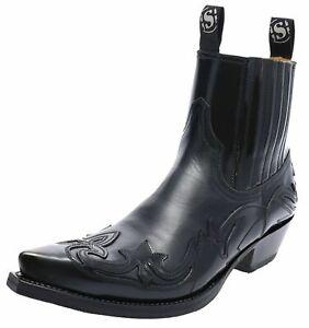 Sendra Boots 4660 Negro Damenstiefelette Herren Westernstiefelette Schwarz