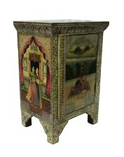 Cabinet Cupboard Hand Painted Love Scene Vintage Camel Bone Wood Home Decor Art