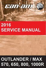 2016 Can-Am ATV Outlander 570 650 850 1000R & Max service manual on CD CanAm