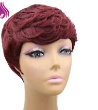 Synthetic Hair Wig Short Curl Cut wine red color