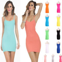 Summer Women Stretchy Camisole Spaghetti Strapless Long Tank Top Slip Mini Dress