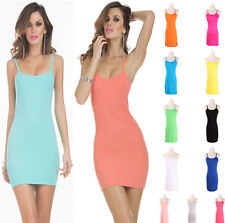 Hot Women Stretchy Camisole Spaghetti Strap Long Tank Top Slip Mini Base Dress