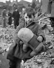 German Aerial Bombing London Abandoned Boy 1945 8x10 World War II WW2 Photo