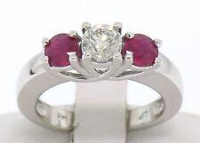 14K BIANCO ORO 3 pietra, FIDANZAMENTO ANELLO W/ CTR diamante rotondo & 2 SANGUE