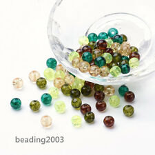 200pcs Baking Painted Crackle Glass Craft Jewelry Round Beads Mixed Color 6mm