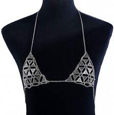 Sexy Necklace Bikini For Beach Party Women's Body Belly Chain Silver Bra Jewelry