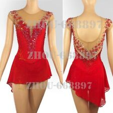 Girl Women latin Rumba Ice Skating Dress Competition red fiowers Spandex