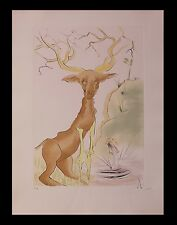 """Salvador Dali """"The Deer seeing himself in the water"""" de la Fontaine Dalinise COA"""