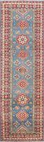 Geometric Super Kazak Vegetable Dye Oriental Runner Rug Tribal Hand-knotted 3x10