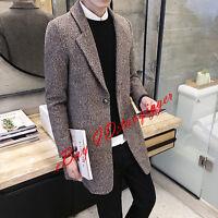 Men's 2 Buttons Wool Blend Trench Long Coat Slim Fit Jacket Lapel Suits Fashion