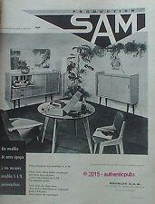 PUBLICITE MEUBLES SAM CHAISE TABLE PHONOGRAPHE DE 1960 FRENCH AD PUB VINTAGE