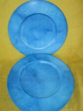 "Plate Charger (s) multiples 13"" Blue Metal w/ Embossed Starfish, Seashell, Fish"