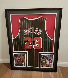 Michael Jordan Signed Autographed Chicago Bulls Pinstripe Jersey Framed COA