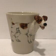 Blue Witch Pottery Jack Russell Terrier Dog Figural 3-D Mug Coffee Tea Cup New
